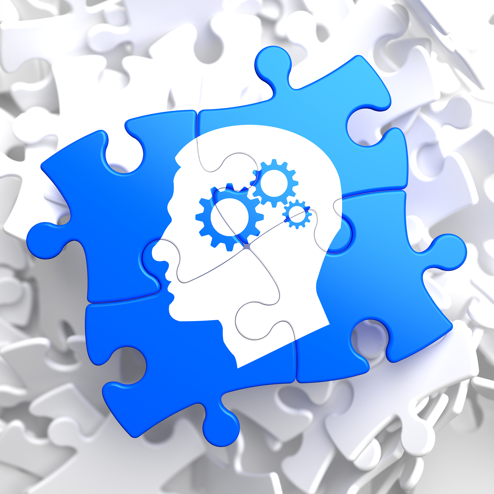 Psychological Concept - Profile of Head with Cogwheel Gear Mechanism Located on Blue Puzzle.